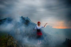 Artistic portrait of a girl surrounded by smoke Royalty Free Stock Images