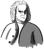 Artistic portrait of Johann Sebastian Bach isolated Royalty Free Stock Image