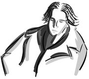 Artistic portrait of Oscar Wilde isolated. A portrait of one of the most representative english writer, Oscar Wilde. An image that can be used in all project Royalty Free Stock Photography