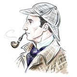 Artistic portrait of Sherlock Holmes Royalty Free Stock Image