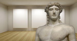 Empty gallery, 3d room with greek sculture, Ancient Statue Royalty Free Stock Photos