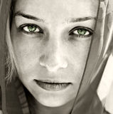 Artistic portrait of woman with beautiful eyes stock photography