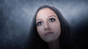 Artistic Portrait of Young Brunette Woman stock images