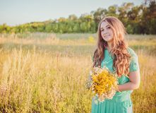 Artistic portrait of young gorgeous brunette on Royalty Free Stock Images