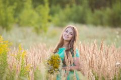 Artistic portrait of young gorgeous brunette on Royalty Free Stock Photography
