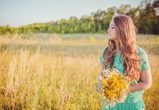Artistic portrait of young gorgeous brunette on Stock Images