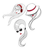 Artistic portraits of three young women. One have the haircut with shaved sides and long tail in the back with cat eyes glasses. Elegant women in vintage hat and Stock Photo