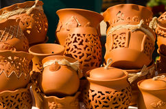 Artistic pottery bowls Royalty Free Stock Photography