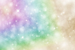 Artistic rainbow colored snowfall background. Artistic rainbow colored winter snowfall bokeh background with sparkle. Colorful blurry Christmas and New Year stock illustration