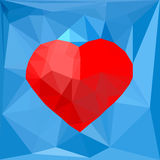 Artistic red geometric heart symbol on blue polygonal background. Vector illustration. Concept, design template for romantic, love St Valentine`s day banner royalty free illustration