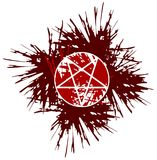 Artistic Red pentacle made with spots isolated Stock Photos
