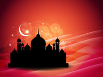 Artistic religious eid background with mosque. Royalty Free Stock Photo