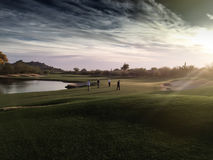 Artistic rendering of 18th hole golf paradise Royalty Free Stock Images