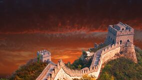 Great Wall of China, Travel, Asia, Sunrise, Sunset. Artistic rendition of the Great Wall of China ancient ruins at sunrise or sunset. Asia and the Orient is a stock video