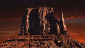 Monument Valley, American West, Travel. Artistic rendition of the Western Mitt at Monument Valley Navajo Reservation in the American west during sunrise or sunet stock video footage