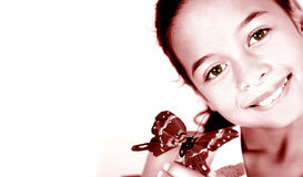 Artistic rendition of a young girl with butterfly. Isolated, with plenty of copyspace Royalty Free Stock Photography