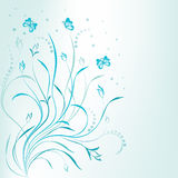 Artistic scroll blue floral design Royalty Free Stock Photo