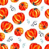Artistic seamless halloween pattern design. Set of hand drawn watercolor pumpkin isolated on white background. vector illustration