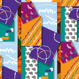 Artistic seamless pattern with abstract shapes and hand made textures. vector Stock Image