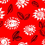 Artistic seamless pattern with flower and leaf. Abstract ink flo Stock Image