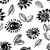 Artistic seamless pattern with flower and leaf. Abstract ink flo Stock Photography
