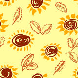 Artistic seamless pattern with flower and leaf. Abstract ink flo Royalty Free Stock Photography
