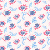 Artistic seamless pattern with flower and leaf. Abstract ink flo Stock Photos