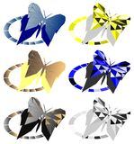 Artistic set of butterflies isolated Royalty Free Stock Photo