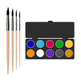 Artistic set. The drawing tools. Brush and watercolor. Vector illustration vector illustration