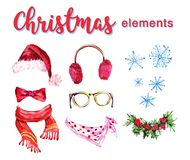 Artistic set of hand drawn watercolor winter objects isolated on white background - santa hat, furry headphones, holly wreath, sca Stock Photography