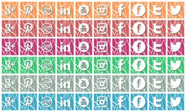 Artistic Set of social networks icons isolated Stock Photo