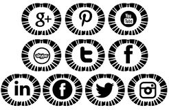 Artistic Set of social networks icons isolated Royalty Free Stock Image