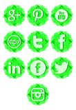 Artistic Set of social networks icons isolated Royalty Free Stock Photography
