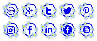 Artistic Set of social networks icons isolated Stock Images