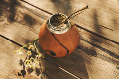 Artistic shot of Argentinean yerba mate drink in Calabash with B Royalty Free Stock Images