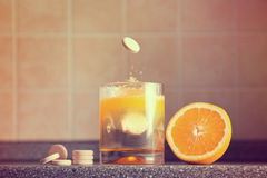 Artistic shot of vitamin C family stock images