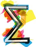 Artistic Sigma Sum sign. Vector illustration Stock Photography