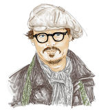 Artistic silkscreen Johnny Depp,with glasses and hat is an actor, director, musician. Royalty Free Stock Image