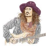 Artistic silkscreen,who plays guitar Johnny Depp is an actor, director, musician. Royalty Free Stock Photos