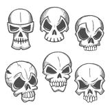 Artistic skeleton skulls sketches icons Stock Images