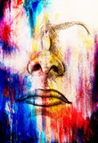Artistic sketch of face parts, nose and mouth, on colorful structured abstract background. Stock Photography