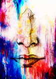 Artistic sketch of face parts, nose and mouth, on colorful structured abstract background. Stock Images