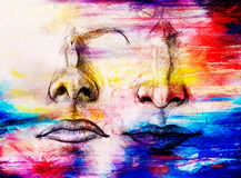 Artistic sketch of face parts, nose and mouth, on colorful structured abstract background. Artistic sketch of face parts, nose and mouth, on colorful structured Stock Photography