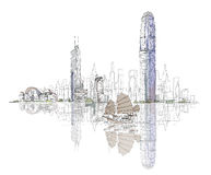 Artistic sketch of Hong Kong bay, sketch collection Stock Image