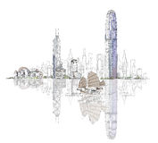 Artistic sketch of Hong Kong bay, sketch collection Stock Photo