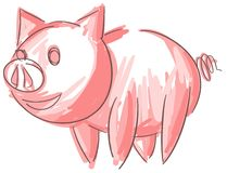 Artistic sketch of a nice smiling pig isolated Royalty Free Stock Images