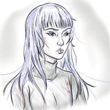 Artistic sketch of a young serious beautiful Asian girl with white long hair. Artistic portrait of original female character stock illustration
