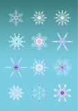 Artistic snowflakes. Artistic set of 12 colored snowflakes Stock Photos