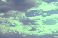 Artistic soft cloud and sky with grunge paper texture.  Stock Photography