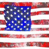 Abstract Grunge Flag Of America. An artistic square American grunge flag design Stock Images